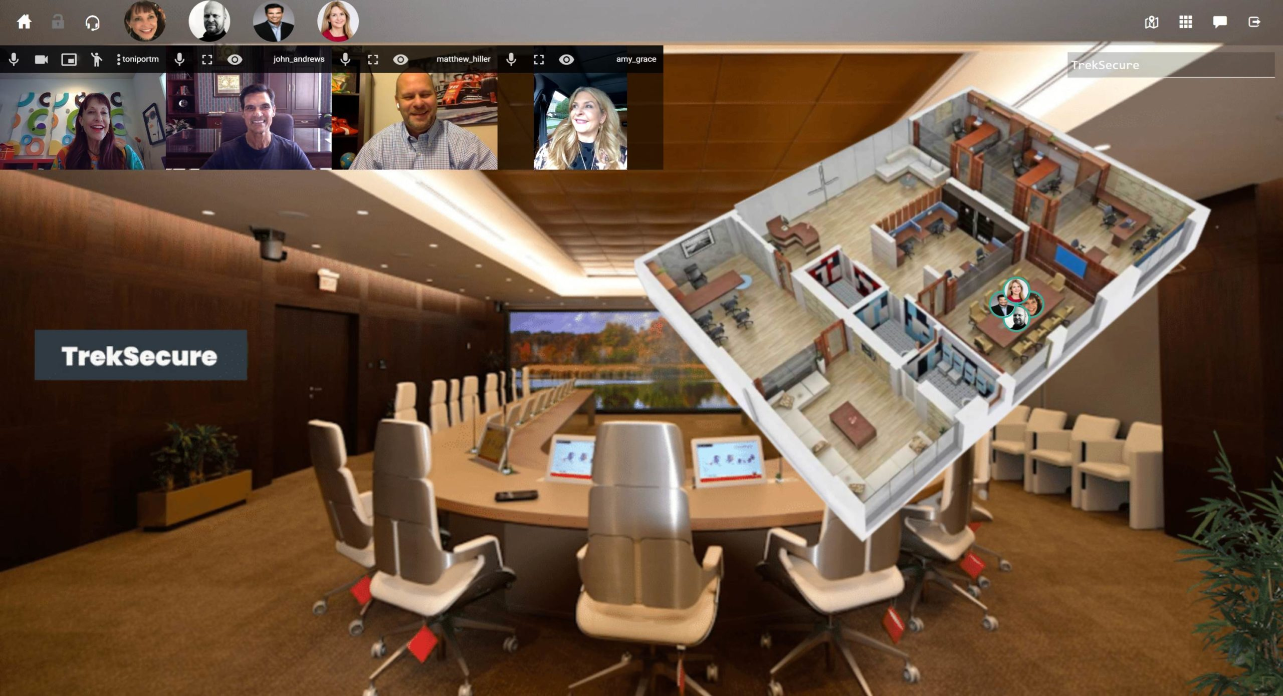 Company TrekSecure meeting virtually in their Walkabout Workplace custom remote office.